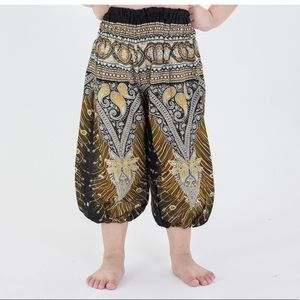 Peacock Feathers Kids Harem Pants in Black